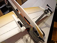 """Name: DSC02754.jpg Views: 1057 Size: 226.3 KB Description: Everything installed. Battery location ended up slightly ahead of the CG - which is 3.75"""" from the leading edge, at the fuselage"""