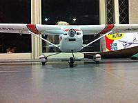 """Name: IMG_0329.jpg Views: 87 Size: 250.0 KB Description: A front on look at the mods. Rear wheels spaced to 10.5"""" or 27cm.  Parkzone Archer nose wheel, spinner, prop adapter and APC prop."""