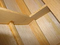 Name: showing gap filler chine to frame 092311.jpg Views: 362 Size: 150.1 KB Description: Hard to see but scrap filler added to frame joints where necessary and edges of frames shimmed out where necessary to ensure tight fit to sheeting and planking