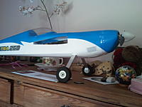 Name: landing_gear.jpg Views: 138 Size: 139.0 KB Description: New landing gear with 5 cm diameter wheel. Ride better on the grass.