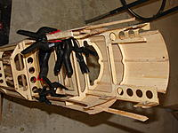 Name: Goldberg Pitts 001.jpg Views: 88 Size: 229.9 KB Description: Gluing the servo tray and support for the rear wing hold down plate and a couple of other minor breaks.