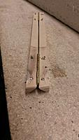 Name: 20160221_131548.jpg Views: 54 Size: 243.5 KB Description: Hinges (only two) mounted and the screws cut off.  This is attached to the inside surface of the canopy frame.  You can see the odd shape I was talking about.