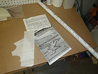 Name: P3060029.jpg Views: 330 Size: 143.5 KB Description: All the paper stuff included in the kit. There is the manual, the plans, a sheet that I.D.'s the various laser cut ribs and two tissue templates for the plastic parts (I don't know what these are for yet, But I'm sure they serve a purpose)