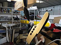 Name: P1020879.jpg Views: 179 Size: 559.4 KB Description: Here she to date.   v2 tip floats and gondola are complete, glassed and sprayed. Wing and tail in the background Please excuse the mesy shed.. it's a by product of productivity.