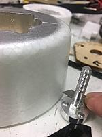 Name: cutting the Nacelle 9mm.jpg Views: 47 Size: 2.83 MB Description: I used the motor adapter as a razor holder while I spun the foam engine nacelle around against the knife.  Don't try and cut thru all at once, but be very careful to hold your line.