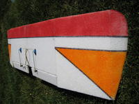 """Name: QPlane 9-08 024.jpg Views: 383 Size: 111.7 KB Description: View down the wing.  This wing also has 2"""" of dihedral at the tip plus both planes have the tip of the wing cut at an angle for appearance and drag reduction."""