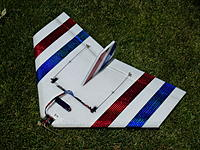 """Name: P1010562-001.jpg Views: 193 Size: 312.7 KB Description: This is the 29"""" cut down version and has the CG at 9"""" back because of the swept wing.  It has a higher roll rate and better vertical performance because of it's smaller size."""