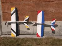 """Name: D-RC2 015.jpg Views: 246 Size: 101.5 KB Description: 32"""" and 36"""" planes.  Both very aerobatic and handle wind well.  Bigger plane easily carries 1320 3 cell TP.  They are not covered only painted with H2O paint available at Wally's mart"""