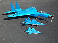 Name: f15s.jpg Views: 381 Size: 159.5 KB Description: My 1.5 oz, 7 oz and 9 lb F-15s. The big one I built in 1973 out of balsa with retracts. Converted from a 60 to electric last year.