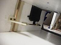 Name: RIMG0003.jpg Views: 347 Size: 115.3 KB Description: Rudder servo mounted into foam, linkage and rudder horn.