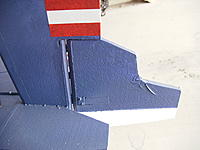 "Name: RIMG0004.jpg Views: 236 Size: 165.5 KB Description: Closeup of rudder hingeline. Dubro hinges in 1/4""x3/8"" balsa each side."