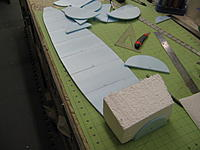 Name: IMG_9592.jpg Views: 445 Size: 155.4 KB Description: Foam fuse planform cut out and adding bulkheads and foam blocks