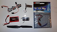 """Name: DSC04104.jpg Views: 902 Size: 120.7 KB Description: The guts! Looking at it all together I better keep my weight down for sure. 3x 3g servos, power up 180, AR6100e, 5"""" prop, 7A ESC, 2c 360 mah bat."""