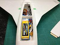 Name: 017.jpg Views: 194 Size: 73.9 KB Description: Plenty of room for any size battery ... you can see the front of the hatch, I glued a small piece of ply to the front of the hatch it lips under the front of the hatch cut-out and the back is held in place with magnets