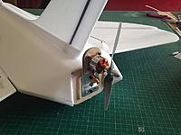 Name: 006.jpg Views: 76 Size: 87.0 KB Description: I decided to use a mount I had from another abandoned model, it has an aluminium up-stand so I can bend it to change the thrust angle if necessary
