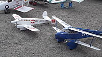 """Name: DSCF1197.JPG Views: 20 Size: 1.38 MB Description: 157. Ivan's K-Z IV, built in 2007 and 80"""" span. It is easy to fly and very forgiving. The new owner posed it beside Ivan's DH90 Dragonfly at the 2017 Chilliwack August fly-in."""