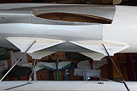 """Name: DSC04741.JPG Views: 15 Size: 1.48 MB Description: The inner sides of the fairings. The balsa """"fins"""" are to locate and secure the depron to the legs, otherwise it would be a very flimsy affair"""