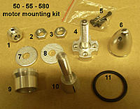 """Name: Spitfire 7.jpg Views: 106 Size: 92.7 KB Description: Pic seven, these are all the """"bits"""" i got with my motor (minus the X-mount and its screws which are already fitted). What are parts 1, 5 & 11 for? i haven't a bloody clue! Is the o-ring part of a prop saver or something?"""