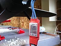 Name: IMG_0587.jpg Views: 156 Size: 179.6 KB Description: Cut away heat shrink on ESC heat sink for better cooling.  Also installed 5 Amp Switched BEC.  My system is Hitec so I also installed a direct battery feed to the SPC port on the RX.  Allows for the receiver to be directly powered from the servos that com