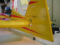 Name: IMG_6806.jpg Views: 72 Size: 127.9 KB Description: Not trusting tape and glue to hold the rudder when using a steerable tail wheel I used these nifty hinges from RC Plane Builders.