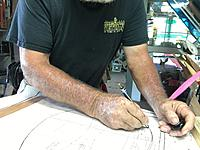 """Name: IMG_2802.JPG Views: 143 Size: 1.14 MB Description: Here is a pic of first step, I am tracing with a ball point pen, I use carbon paper an trace directly on a piece of 3/16"""" luan plywood. I use this method to make templates for lots of parts, in the build."""