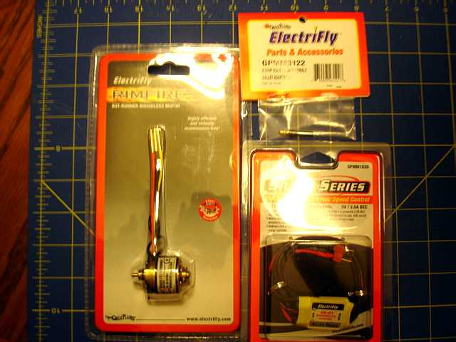 Name: SE5a 003.jpg Views: 1,178 Size: 36.5 KB Description: The Rimfire Brushless motor and Silver 25 Series SS escape are both from ElectriFly and come prewired with connectors so they are plug and play.
