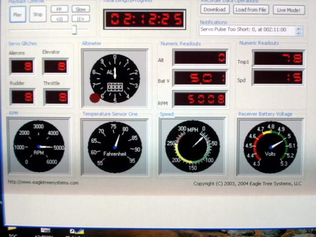 Name: rpmandvoltage.jpg Views: 356 Size: 231.4 KB Description: This picture is a readout from the RPM and voltage bench tests with the FDR.