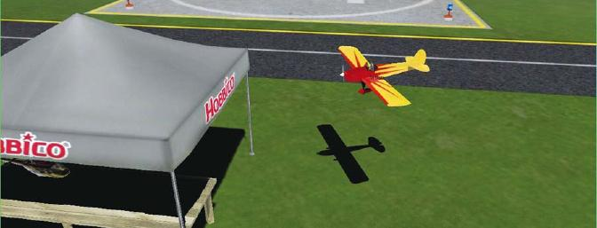 Space Walker in danger of crashing into the Hobbico booth at the RealFlight flying school site.