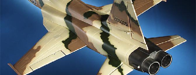 The F-5E in Camo colors looks like a true fighter.