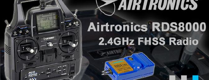 The Airtronics RDS8000 transmitter and the 92824Z receiver made up the 2.4GHz system that was used to operate this plane.