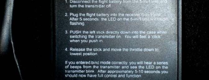 Binding instructions printed on the back of the LP5DSM transmitter that came with the RTF version