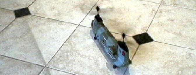 They recommend getting the helicopter light on its wheels and have it roll for initial movement.