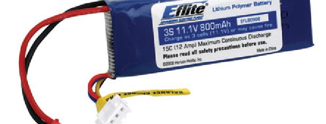 E-flite battery pack used in this review, 3-cell 800mAh 12A maximum continuous discharge
