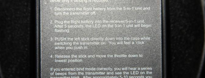 Binding instructions on the back of the transmitter for the RTF version. (Double click on picture to see a larger version.)