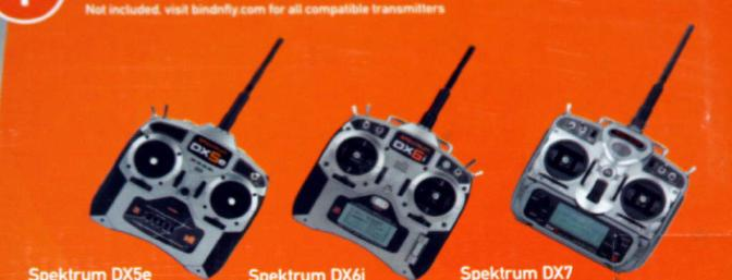 Pictures of some the transmitters that will work with the Bind N Fly version on the back of the box.