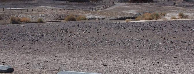 In the parking lot of the Borax Mine in Death Valley.