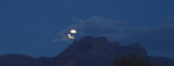 Full moon over the Superstition Mountains just after sunset on Friday.