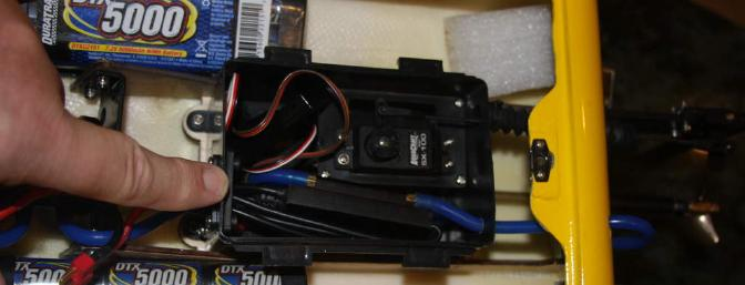 The steering servo is in the water proof box with the receiver and the brushless speed controller.