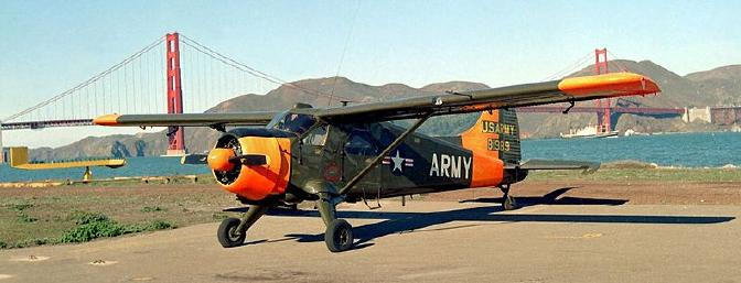 A US Army Beaver parked at Crissy field in the Presidio in San Francisco.