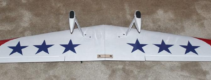 The decals installed on the bottom of the wing. Before I installed the belly pan.