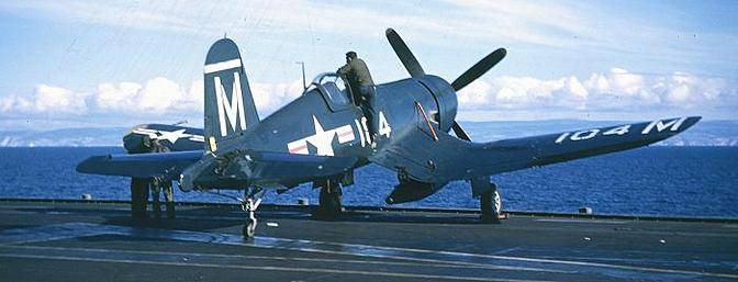 An F4U-4 Corsair on the carrier Midway. (picture from Wikipedia)