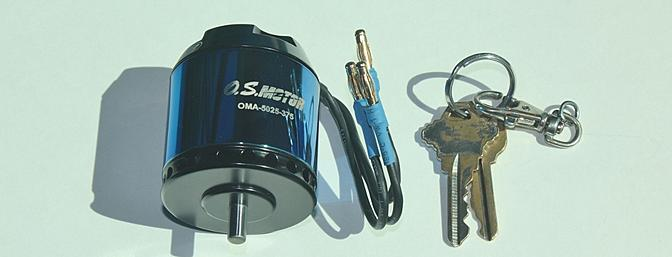 The OS Brushless motor model OMA-5025-375 part # OSMG9550. My keys help show the size of this motor.