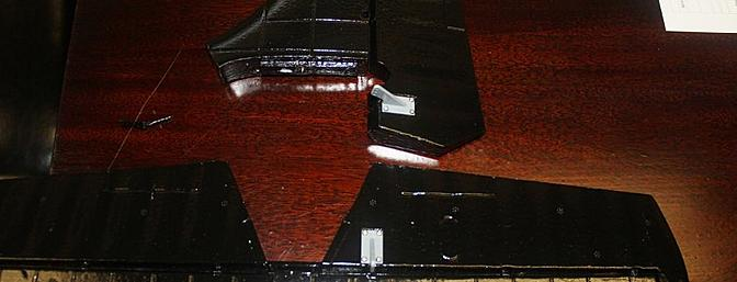 The tail feathers came in a shinny black with decals on the vertical stabilizer and rudder.