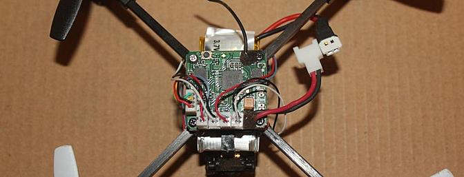 A view of the top of the quadcopter with the shell off.