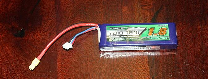 This Turnigy nano-Tech 3S 1800mAh 25-50C battery pack was shipped with the kit from the HobbyKing Washington state warehouse.