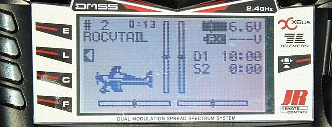 Here is the main screen for my Roc Hobby V-Tail with the timers activated but not yet running.