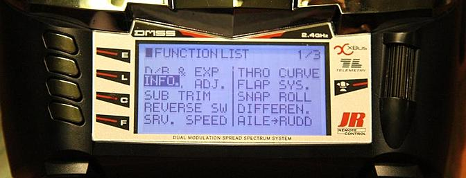 the screen showing part of the Functions list.