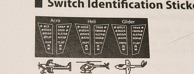 The three sets of custom labels as depicted in the instruction manual.