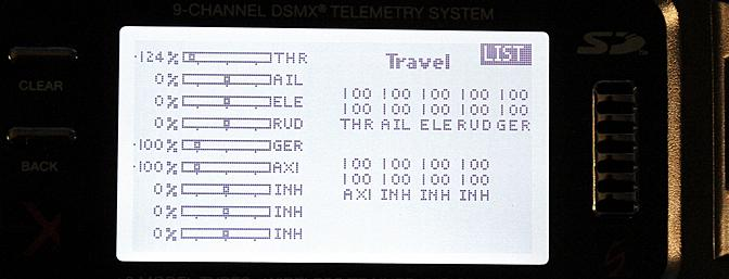 The screen for adjusting servo travel.
