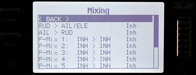 A wide number of mixes can be programmed with the DX9.